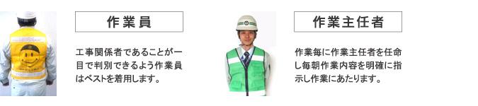 工事関係者であることが一目で判別できるよう、作業員はベストを着用します。